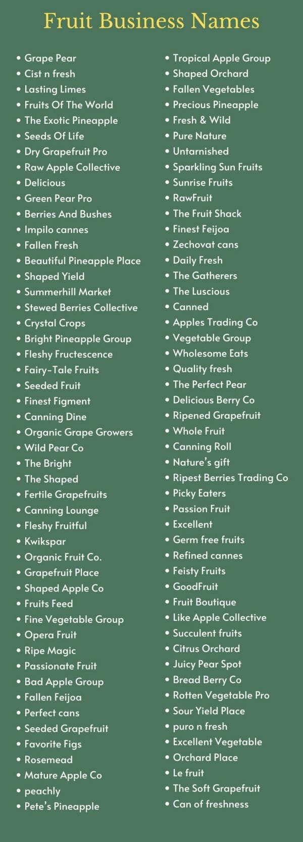 Fruit Business Names: infographic