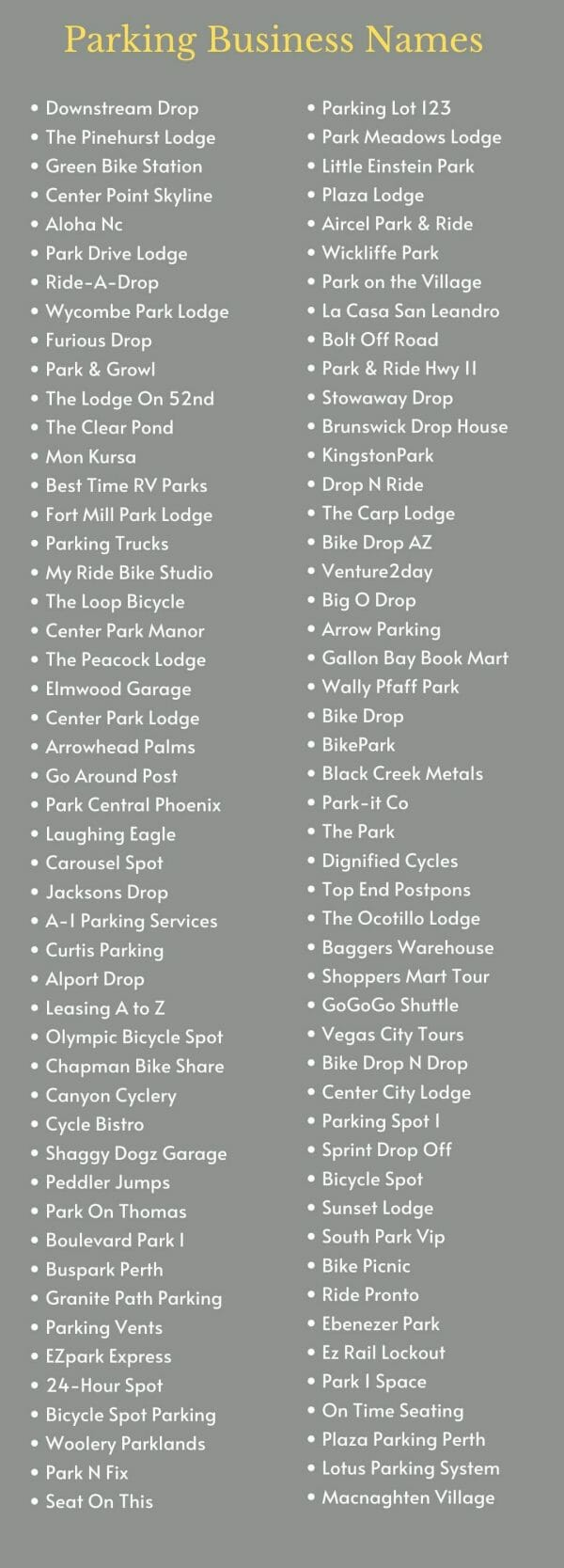 Parking Business Names