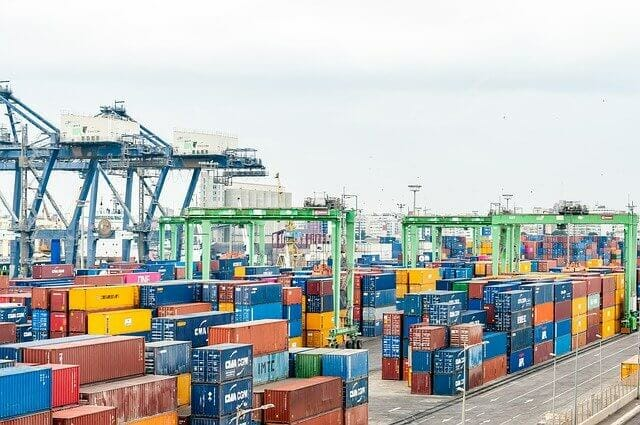 Import Export Company Names: container placed in the ship port