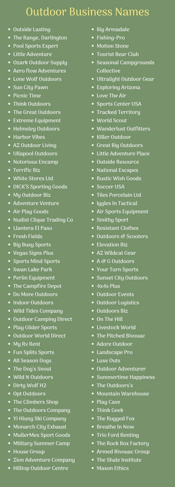 Outdoor Business Names Ideas