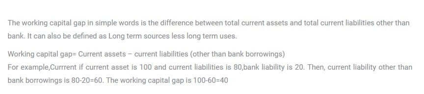 what is working capital gap?