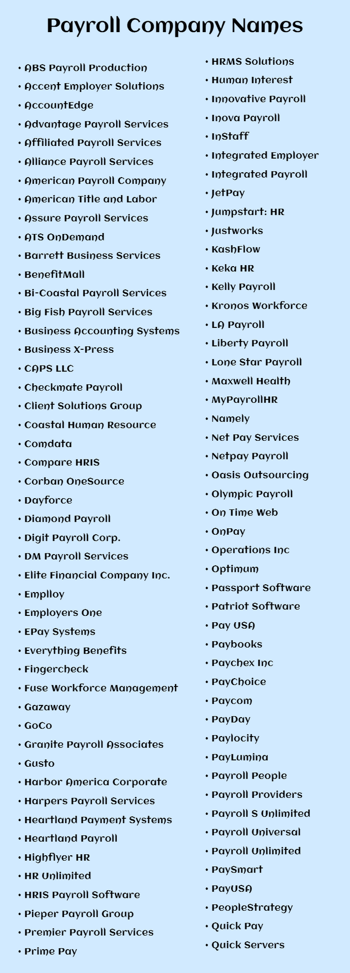 Payroll Company Names: the payroll companies for small business