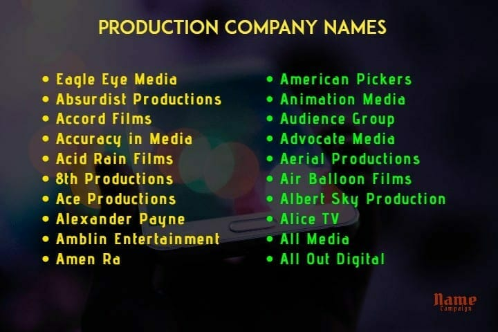 production company names ideas for you
