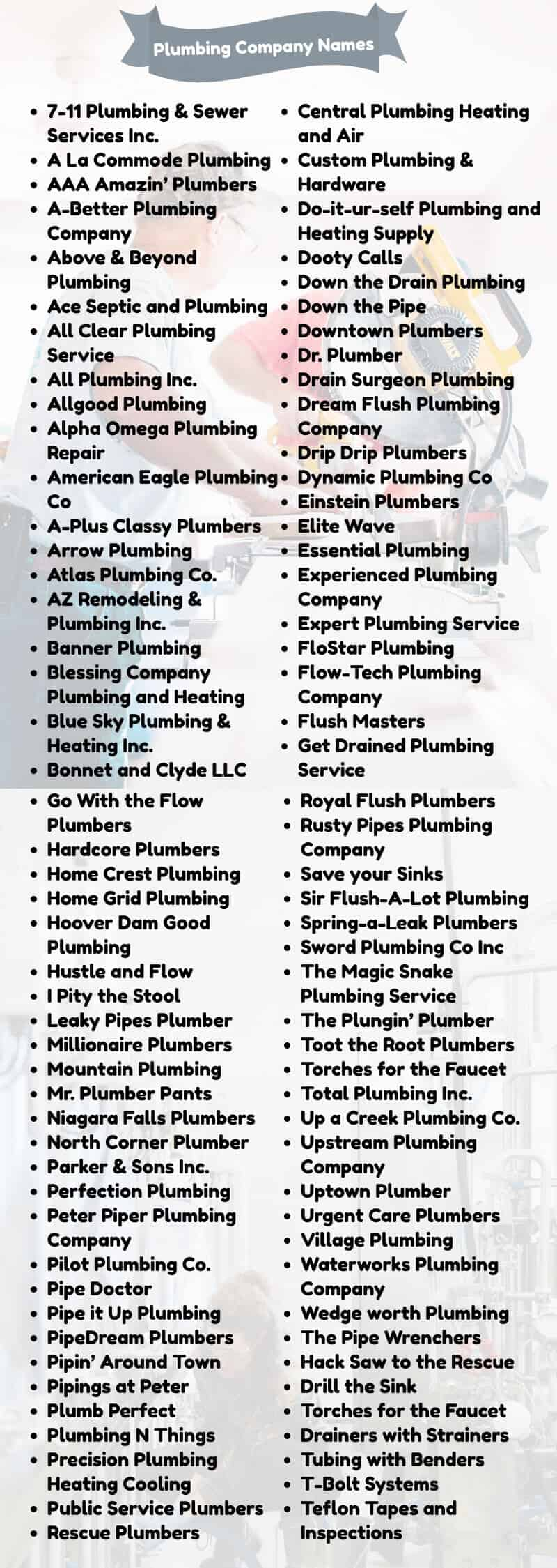 These are Catchy Plumbing Company Names