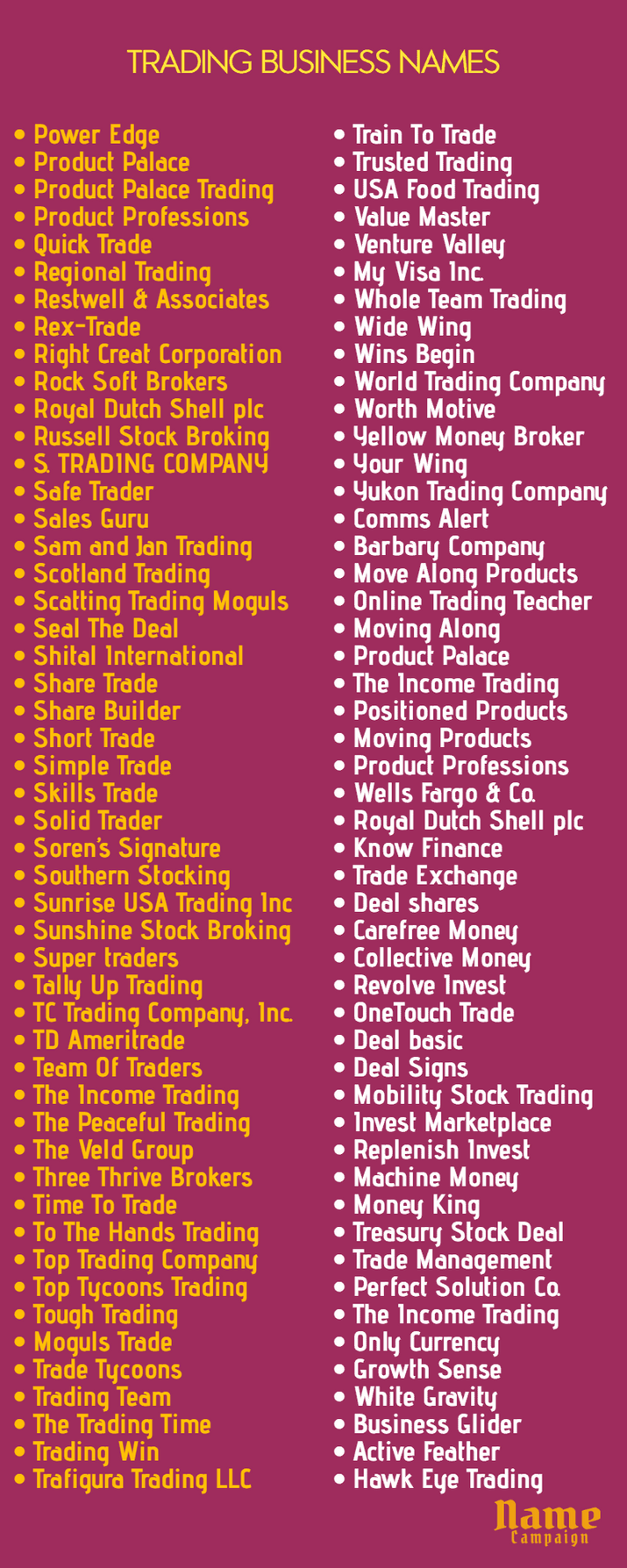 trading company names: best trading companies