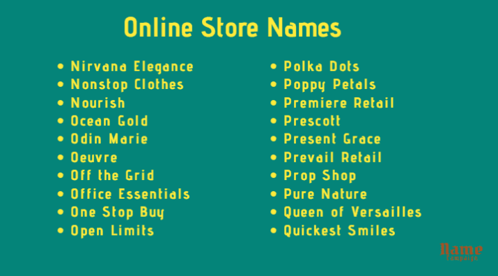 Online Shop Name Ideas for your business
