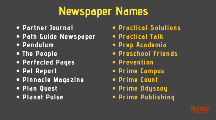 newspaper names for your business