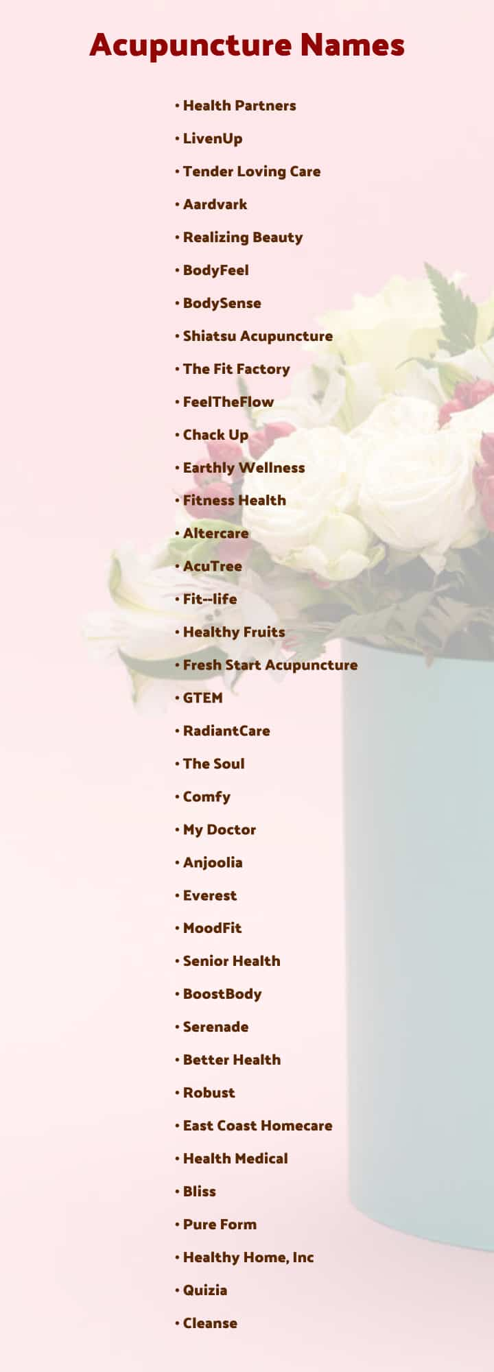 acupuncture clinic names list