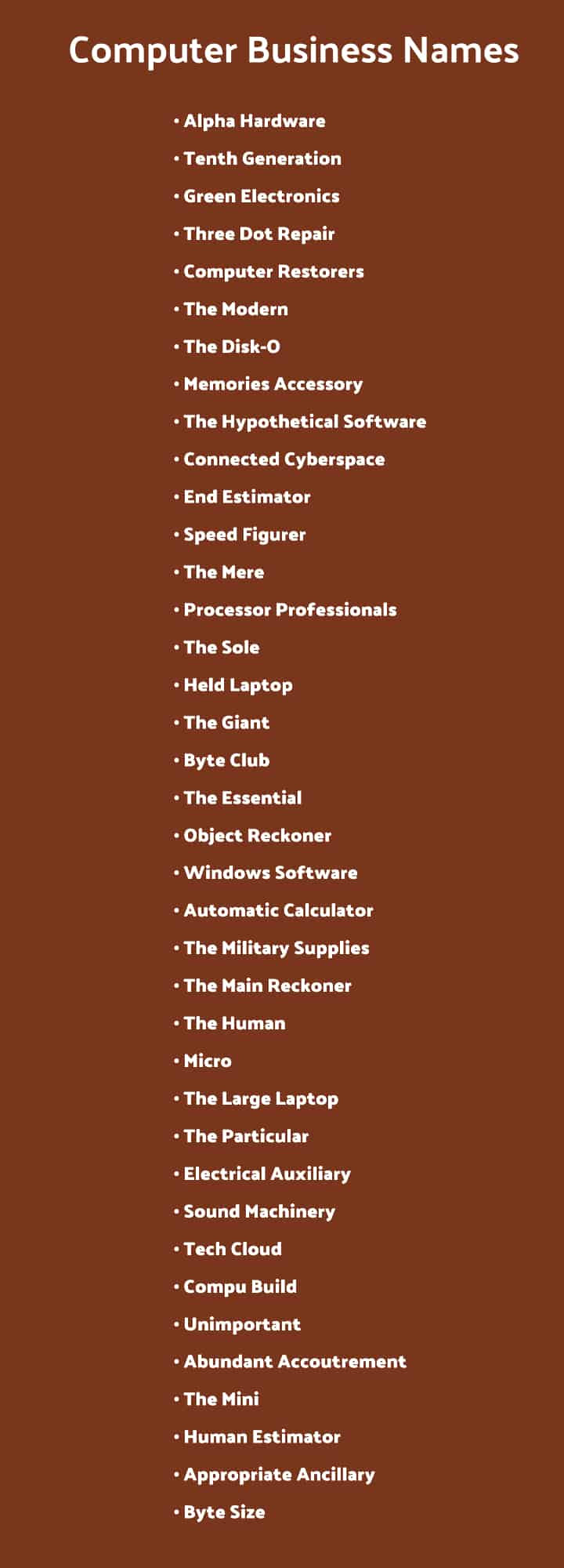 Computer Business Names List of Ideas