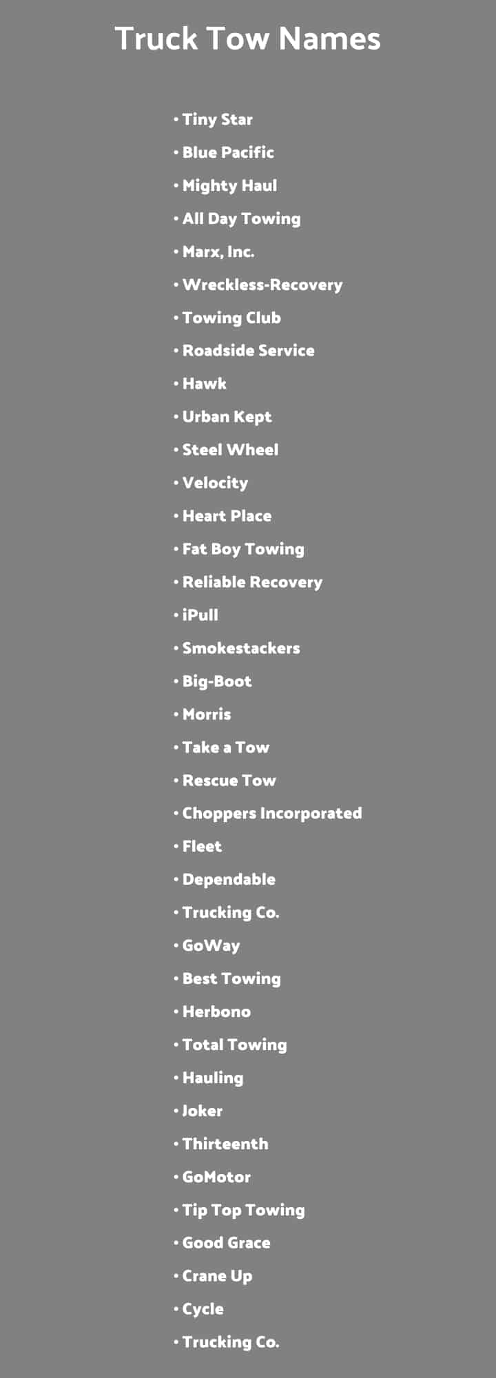 Towing Company Names List