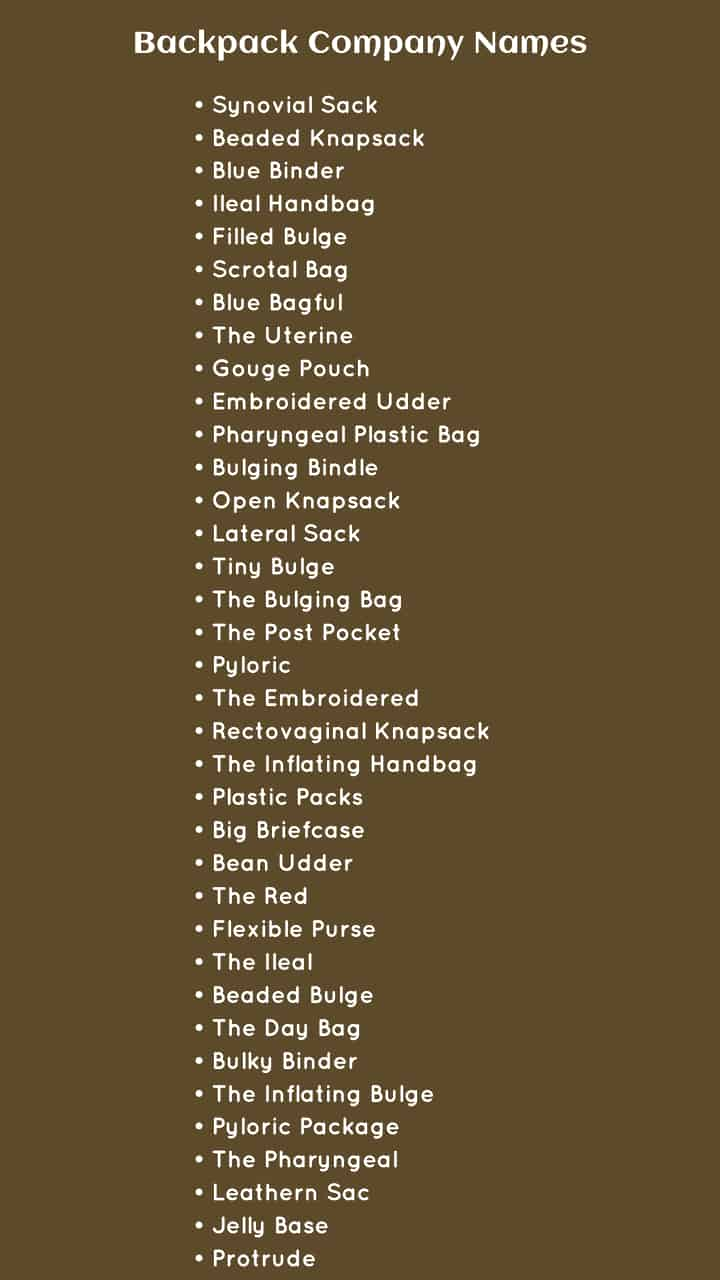 Backpack Company Names Ideas For Your Business