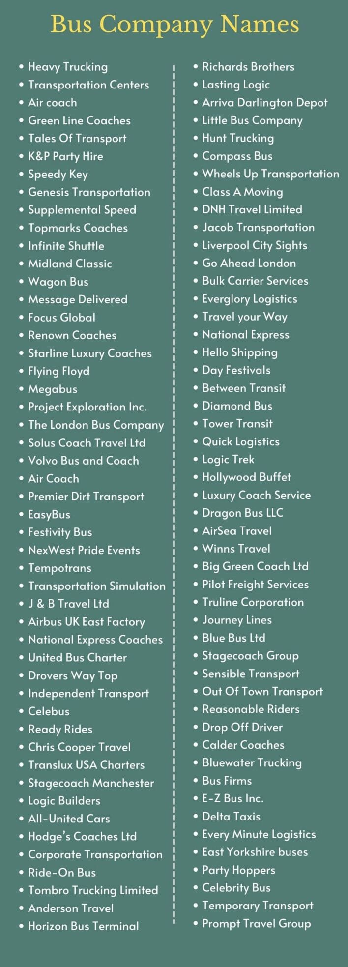 Bus Company Names: Infographic