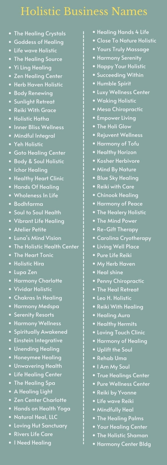 Holistic Business Names: Infographic